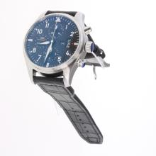 IWC Pilot Chronograph Swiss Valjoux 7750 Movement with Black Dial-Leather Strap-1