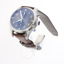 IWC Pilot Chronograph Swiss Valjoux 7750 Movement with Gray Dial-Leather Strap-1