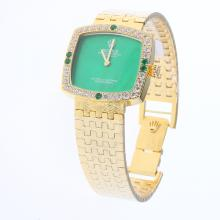 Rolex Oyster Perpetual Full Gold Diamond Bezel with Green Dial