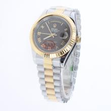 Rolex Day-Date II Automatic Two Tone Roman Markers with Brown Dial