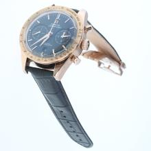 Omega Speedmaster Working Chronograph Swiss 9300 Automatic Movement Two Tone Case with Black Dial-Leather Strap-1
