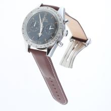 Omega Speedmaster Working Chronograph Swiss 9300 Automatic Movement with Black Dial-Leather Strap-1