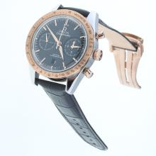 Omega Speedmaster Working Chronograph Swiss 9300 Automatic Movement Two Tone Case with Black Dial-Leather Strap