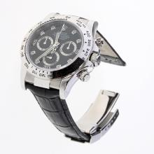 Rolex Daytona Swiss Calibre 4130 Chronograph Movement Diamond Markers with Black Dial-Leather Strap