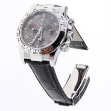 Rolex Daytona Swiss Calibre 4130 Chronograph Movement Number Markers with Gray Dial-Leather Strap