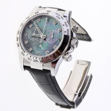 Rolex Daytona Swiss Calibre 4130 Chronograph Movement Diamond Markers with Black MOP Dial-Leather Strap-1