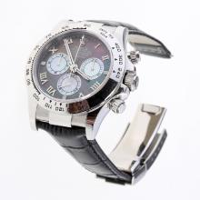 Rolex Daytona Swiss Calibre 4130 Chronograph Movement Roman Markers with Black MOP Dial-Leather Strap