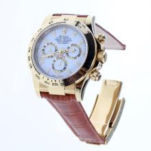 Rolex Daytona Swiss Calibre 4130 Chronograph Movement Gold Case Stick Markers with White Dial-Leather Strap-1