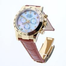 Rolex Daytona Swiss Calibre 4130 Chronograph Movement Gold Case Diamond Markers with MOP Dial-Leather Strap-1