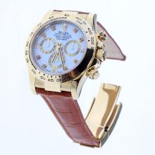 Rolex Daytona Swiss Calibre 4130 Chronograph Movement Gold Case Diamond Markers with White Dial-Leather Strap