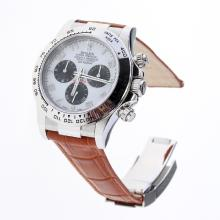 Rolex Daytona Swiss Calibre 4130 Chronograph Movement Number Markers with White Dial-Leather Strap