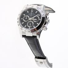 Rolex Daytona Swiss Calibre 4130 Chronograph Movement Stick Markers with Black Dial-Leather Strap