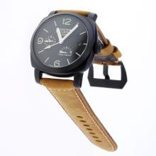 Panerai Radiomir Working Power Reserve Automatic PVD Case with Black Checkered Dial-Leather Strap