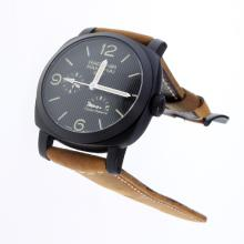 Panerai Radiomir Working Power Reserve Automatic PVD Case with Black Lines Dial-Leather Strap