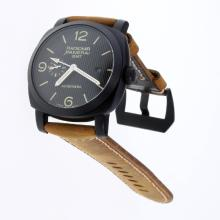 Panerai Radiomir Working GMT Automatic PVD Case with Black Lines Dial-Leather Strap