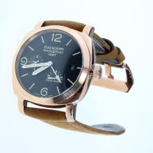 Panerai Radiomir Working Power Reserve Automatic Rose Gold Case with Black Lines Dial-Leather Strap