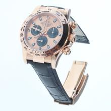 Rolex Daytona Swiss Calibre 4130 Chronograph Movement Rose Gold Case Stick Markers with Champagne Dial-Leather Strap