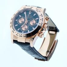 Rolex Daytona Swiss Calibre 4130 Chronograph Movement Rose Gold Case Stick Markers with Black Dial-Leather Strap