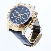 Rolex Daytona Swiss Calibre 4130 Chronograph Movement Gold Case Stick Markers with Black Dial-Leather Strap-1