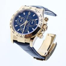 Rolex Daytona Swiss Calibre 4130 Chronograph Movement Gold Case Stick Markers with Black Dial-Leather Strap