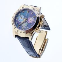 Rolex Daytona Swiss Calibre 4130 Chronograph Movement Gold Case Diamond Markers with Black MOP Dial-Leather Strap