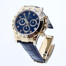 Rolex Daytona Swiss Calibre 4130 Chronograph Movement Gold Case Diamond Markers with Black Dial-Leather Strap-2