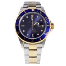 Rolex Submariner Swiss Cal 3135 Movement Two Tone with Blue Dial