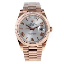 Rolex Day-Date II Swiss ETA 2836 18K Plated Gold Movement Full Rose Gold with Silver Dial