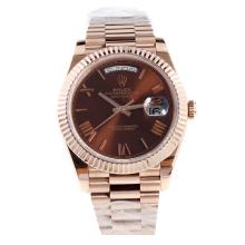 Rolex Day-Date II Swiss ETA 2836 18K Plated Gold Movement Full Rose Gold with Brown Dial
