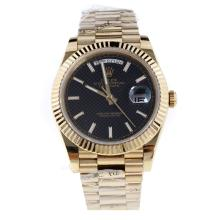 Rolex Day-Date II Swiss ETA 2836 18K Plated Gold Movement Full Gold with Black Checkered Dial