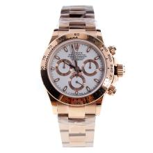 Rolex Daytona Swiss Calibre 4130 Chronograph Movement Full Rose Gold Stick Markers with White Dial