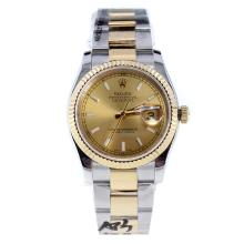 Rolex Datejust Swiss ETA 2836 Movement Two Tone Stick Markers with Golden Dial-High Quality Version-1