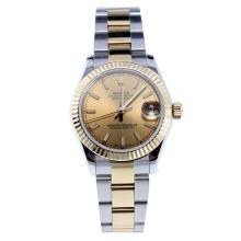 Rolex Datejust Swiss ETA 2836 Movement Two Tone Stick Markers with Golden Dial-High Quality Version