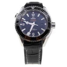 Omega Seamaster Swiss Calibre 8900 Automatic Movement Ceramic Bezel with Black Dial-Leather Strap