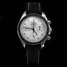 Omega Speedmaster Swiss Calibre 1861 Manual-winding Chronograph Movement White Dial with Nylon Strap-Moonwatch Anniversary Limited Series