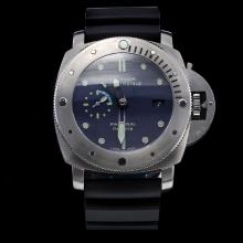 Panerai Luminor Submersible Working GMT Swiss Calibre P.9001 Automatic Movement with Black Dial-Leather Strap