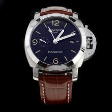 Panerai Luminor Working GMT Swiss Calibre P.9001 Automatic Movement with Black Dial-Leather Strap-2