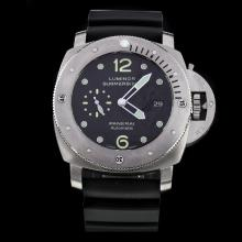 Panerai Luminor Submersible Swiss Calibre P.9000 Automatic Movement with Black Dial-Leather Strap-2