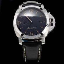Panerai Luminor Working GMT Swiss Calibre P.9001 Automatic Movement with Black Dial-Leather Strap-1