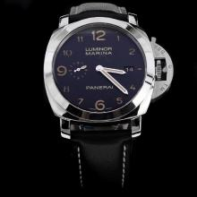 Panerai Luminor Marina Swiss Calibre P.9000 Automatic Movement Number Markers with Black Dial-Leather Strap