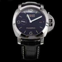 Panerai Luminor Marina Swiss Calibre P.9000 Automatic Movement with Black Dial-Leather Strap-2