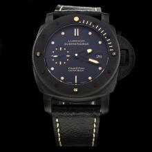 Panerai Luminor Submersible Swiss Calibre P.9000 Automatic Movement Ceramic Case with Black Dial-Leather Strap