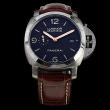 Panerai Luminor Marina Swiss Calibre P.9000 Automatic Movement with Black Dial-Leather Strap-1