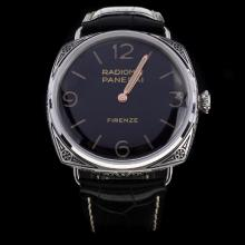 Panerai Radiomir Swiss Calibre P.3000 Manual-winding Movement Carved Case with Black Dial-Leather Strap-1