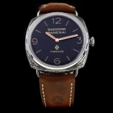 Panerai Radiomir Swiss Calibre P.3000 Manual-winding Movement Carved Case with Black Dial-Leather Strap