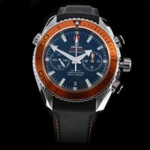 Omega Seamaster Swiss 9300 Chronograph Automatic Movement Orange Bezel with Black Dial-Rubber Strap