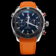 Omega Seamaster Swiss 9300 Chronograph Automatic Movement Black Bezel with Black Dial-Rubber Strap-1