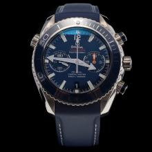 Omega Seamaster Swiss 9300 Chronograph Automatic Movement Blue Bezel with Blue Dial-Rubber Strap
