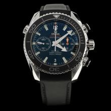 Omega Seamaster Swiss 9300 Chronograph Automatic Movement Black Bezel with Black Dial-Rubber Strap