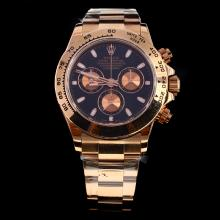 Rolex Daytona Swiss Calibre 4130 Chronograph Movement Full Rose Gold Stick Markers with Black Dial